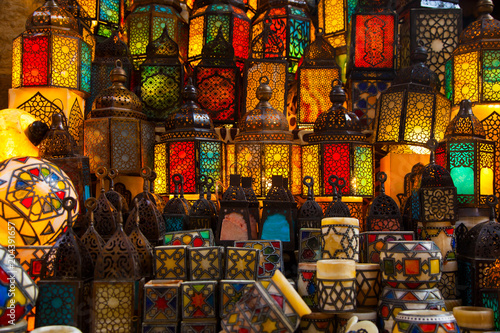 lighting with colors on muslim style's lantern - 204391657