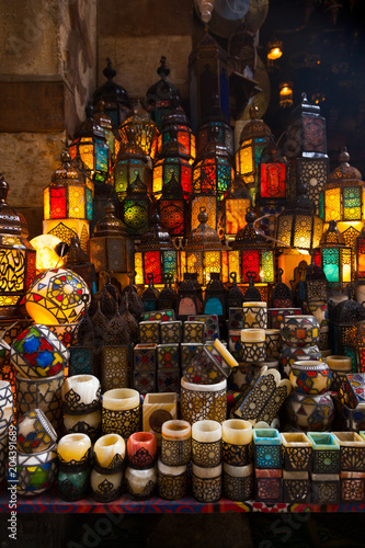 lighting with colors on muslim style's lantern - 204391689