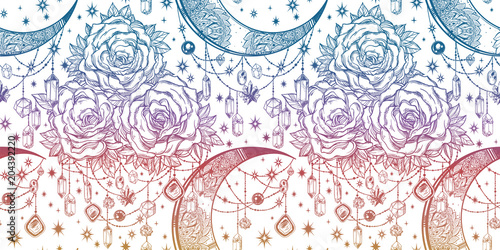 Rose and moon texture floral background ornament. - 204392220