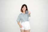 Portrait of thai adult beautiful girl short hair drinking coffee