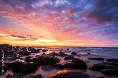 Aluminium Zee zonsondergang golden hours , sunset, sky, sun, clouds, nature, cloud, sunrise, sea, water, orange, dusk, ocean, landscape, beach, red, light, evening, sunlight, dawn, blue, summer, view, horizon, scenic, cloudscape