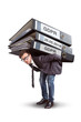 Man carrying an enormous stack of GDPR files - 204404270
