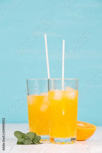 Fresh tasty juice in glasses