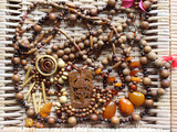 Oriental wooden and amber jewelry