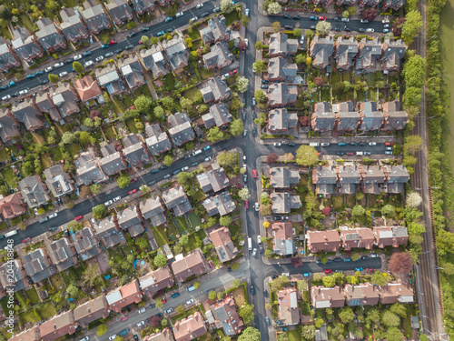 Poster Residential houses drone above aerial view blue sky with park and greenery