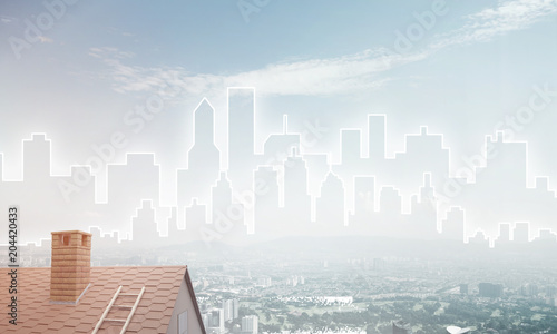 Poster Concept of real estate and construction with drawn silhouette on big city background