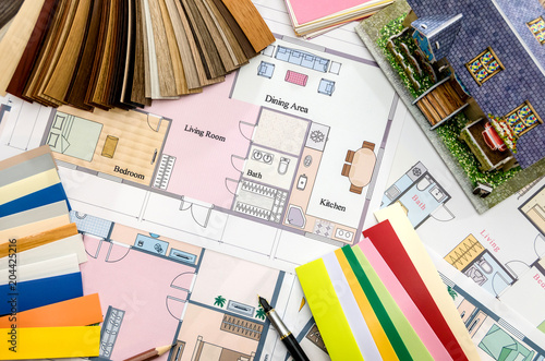layout and house plan with color samples