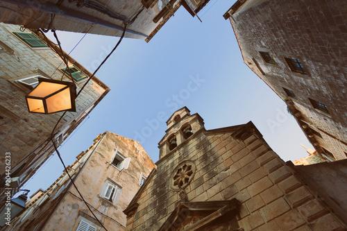 Fototapeta DUBROVNIK, DALMATIA, CROATIA - Old Town of Dubrovnik at sunset