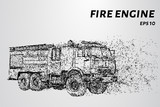 Fire engine from the particles. Fire truck hurries to the rescue. Vector illustration