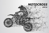 Motocross of particles. Motorcyclist involved in motocross. Motorcyclist jump.