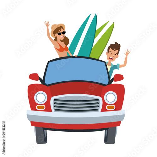 Fotobehang Auto Car with surfers inside cartoon vector illustration graphic design