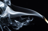 Smoke Swirling from Burnt Wooden Matchstick - 204433213