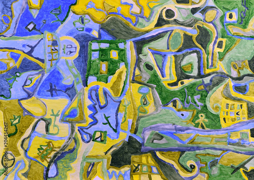 Plexiglas Olijf Abstract aerial scenery. Acrylic painting.