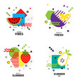 Trendy style geometric pattern with fruit, vector illustration