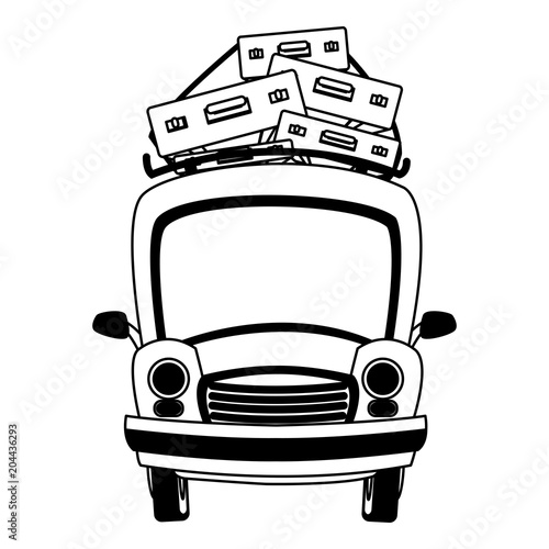 Wall mural Car with luggage on top vector illustration graphic design