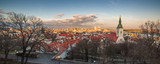 Cityscape of Bratislava, Slovakia with St. Martin's Cathedral and Danube River with New Bridge at Sunset