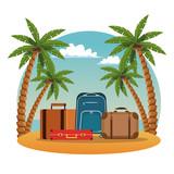 Travel luggage in beachscape vector illustration graphic design - 204441222