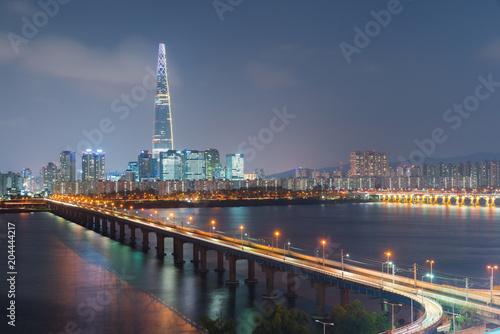 Plexiglas Seoel South Korea skyline of Seoul, The best view of South Korea with Lotte world mall at Jamsil.