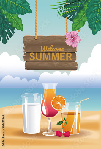 Milk and orange juice with wooden signpost vector illustration graphic design