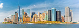 Downtown New York skyline panorama viewed from a boat sailing the Upper Bay - 204451059