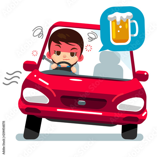 Fotobehang Auto Vector drunk female character driving a car