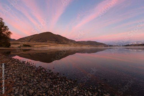 Fotobehang Lichtroze Mountain and lakeside with beautiful sky.
