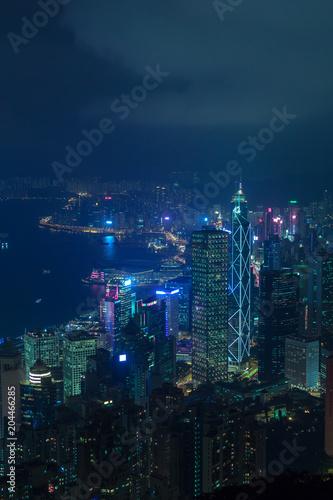 Cyberpunk Hong Kong city at night