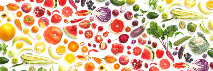 pattern of various fresh vegetables and fruits isolated on white background, top view, flat lay. Composition of food, concept of healthy eating. Food texture. © Tatiana Morozova