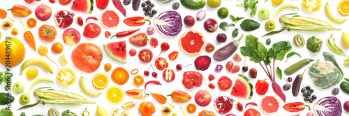 pattern of various fresh vegetables and fruits isolated on white background, top view, flat lay. Composition of food, concept of healthy eating. Food texture. - 204469673