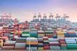 Quadro shanghai container terminal in sunset