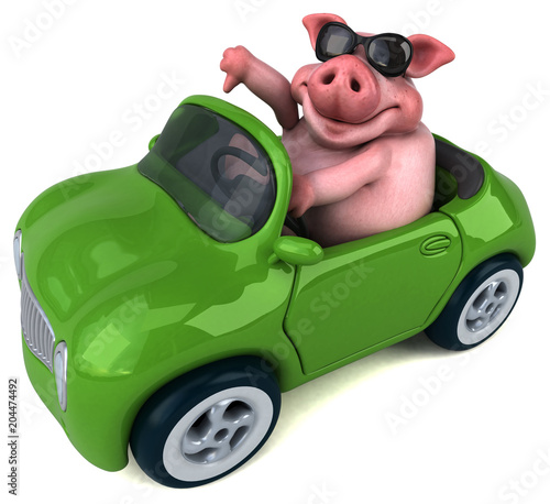 Fotobehang Auto Fun pig - 3D Illustration