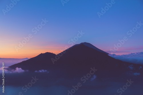 Fotobehang Tropical strand Morning view of Mount Gunung Agung volcano from Mt. Batur, Bali, Indonesia.