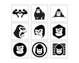 black gorilla monkey ape chimp primate image vector icon logo set
