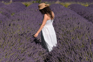 Woman in a lavender field, France