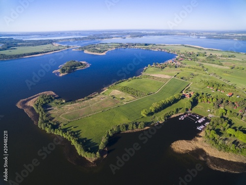 Fotobehang Pier Aerial view of beautiful landscape of Mazury region, Swiecajty Lake, Poland