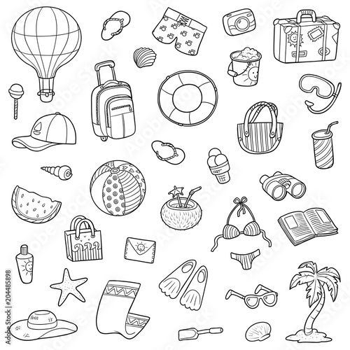 Black and white cartoon set of summer objects