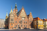 Market Square with old gothic Town Hall in Wroclaw (Breslau) in Poland.