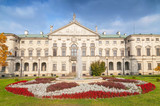 Decorative facade of Baroque style Krasinski Palace in Warsaw seen from the garden, Poland. - 204490460