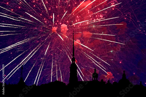 Fotobehang Bordeaux Illustration of colorful fireworks on Peter and Paul Fortress, Saint-Petersburg, Russia. Holiday light with Russian cityscape silhouette.