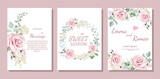 Set of card with flower rose, leaves. Wedding ornament concept. Floral poster, invite. Vector decorative greeting card or invitation design background - 204495427