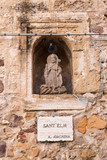 Statue in the fortification wall, Alghero, Sardinia, Italy