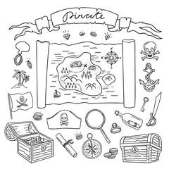 Hand drawn pirate set. Pirates flag and treasures map. Nautical symbols illustrations