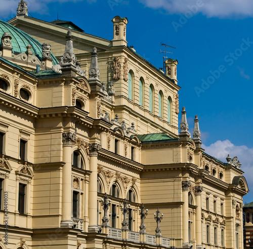 Aluminium Krakau Slowacki Theatre in Krakow Old Town District in Poland