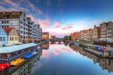 Old town of Gdansk at Motlawa river at sunrise, Poland - 204500466