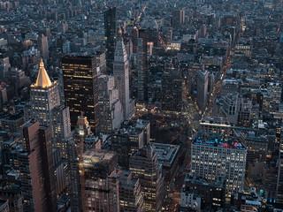 New York, panorámica aerea por la noche