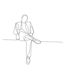 vector, isolated sketch male sitting