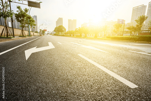 Fotobehang Oranje asphalt road