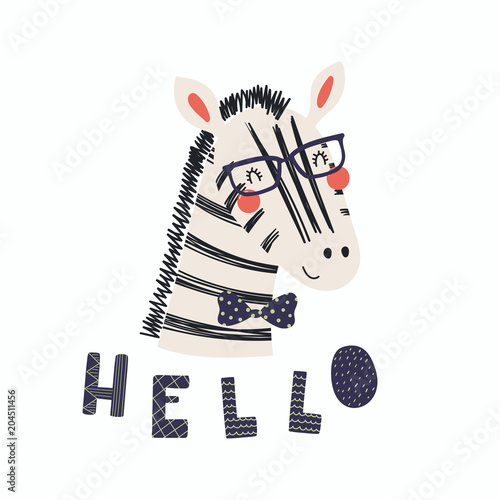 Fototapeta Hand drawn vector illustration of a cute funny zebra in a bow tie and glasses, with lettering quote Hello. Isolated objects. Scandinavian style flat design. Concept for children print.