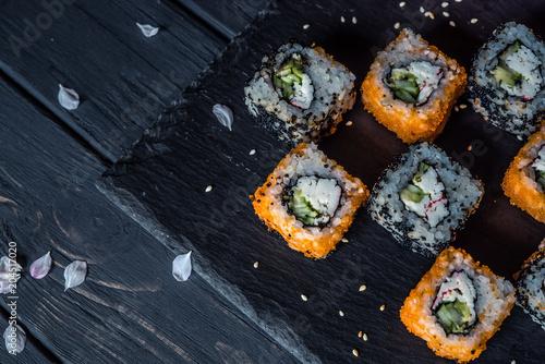 Fotobehang Sushi bar sushi on a black background 2