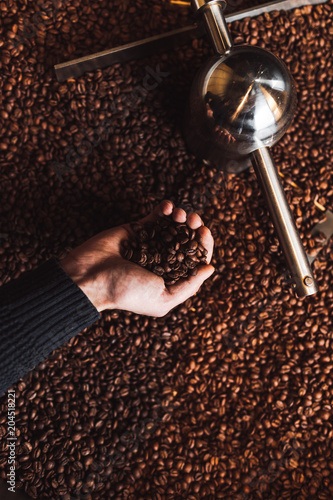 Poster Man's hands holding freshly roasted aromatic coffee beans over a modern coffee roasting machine.
